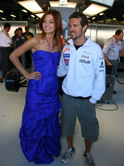 Tiago Monteiro with the face of Fosters Kasia