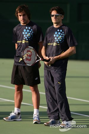 Evènement tennis Pro-Am charity: Fernando Alonso et Giancarlo Fisichella