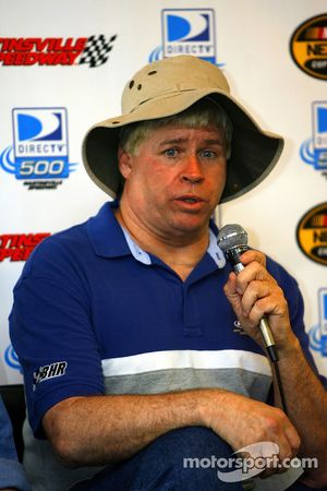 Bobby Hamilton, who is taking a break from racing to battle cancer, talks to the media