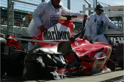 The wrecked car of Felipe Massa