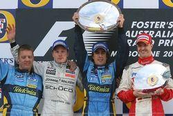 Podium: race winner Fernando Alonso with Kimi Raikkonen and Ralf Schumacher