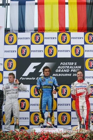 Podium: Sieger Fernando Alonso, 2. Kimi Räikkönen, 3. Ralf Schumacher