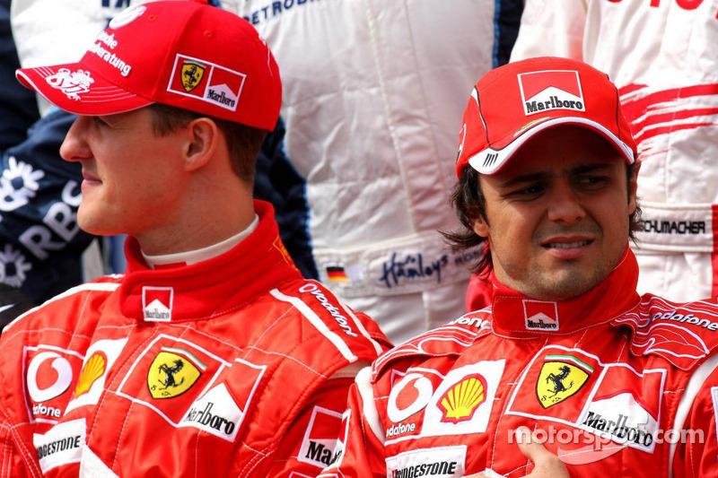 Drivers photoshoot: Michael Schumacher and Fernando Alonso