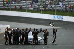 Race winner David Starr celebrates