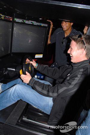 Brian Frisselle plays Ferrari 355 Challenge to Leonardo Maia's amusement