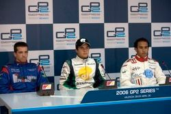 Nelson A. Piquet and Tristan Gommendy and Lewis Hamilton in the press conference