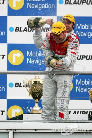 Podium: champagne for Tom Kristensen and Heinz-Harald Frentzen