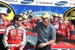 Car owner Ray Evernham congratulates winner Kasey Kahne on his victory