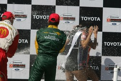 Podium: champagne shower for the Champ Car Girls