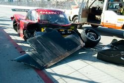 Damaged race car of Rocky Moran Jr.