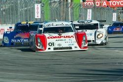 Race restart as the field approaches Turn 1