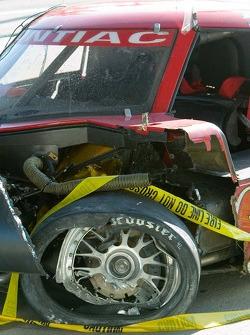 Damaged race car of Rocky Moran Jr.