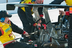 Straps are used to hold the #77 car together near the end of the race