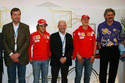 Martini staff old and new Markku Alen World Rally Championship driver for Martini Racing and Lancia