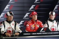 Conférence de presse: Michael Schumacher avec Jenson Button et Rubens Barrichello