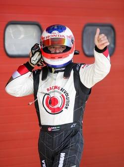 Rubens Barrichello celebrates his qualifying performance