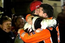 Victory lane: race winner Kevin Harvick congratulated by Tony Stewart