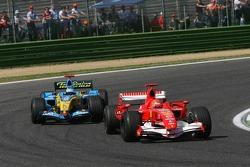 Michael Schumacher leads Fernando Alonso