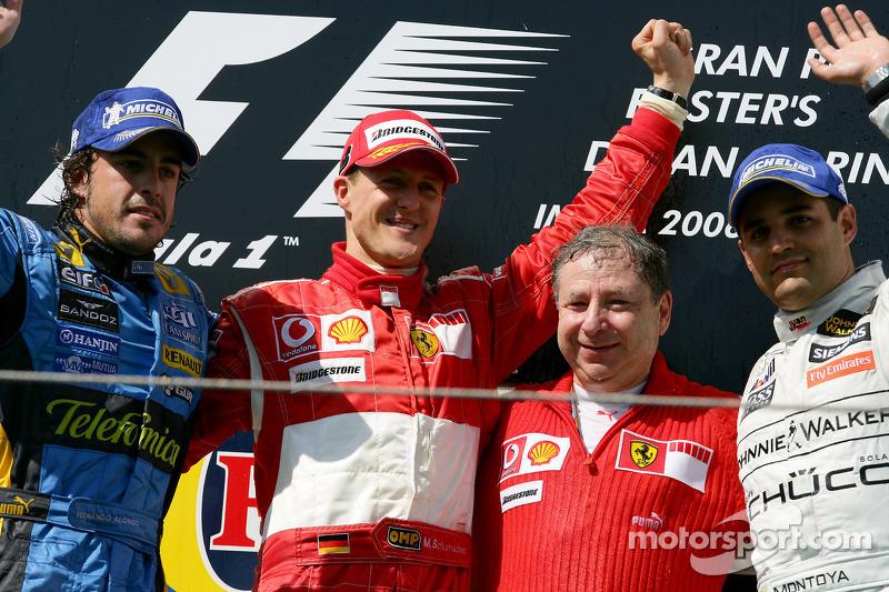 1º Michael Schumacher, 2º Fernando Alonso (Jean Todt) y 3º Juan Pablo Montoya