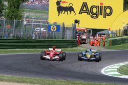 Michael Schumacher and Fernando Alonso battle