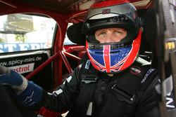 Johnny Herbert takes part in the Mini race
