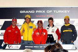 Conférence de presse: Marco Melandri, Valentino Rossi et Loris Capirossi