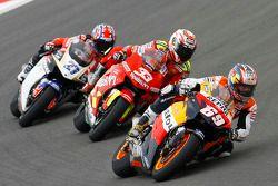 Nicky Hayden, Repsol Honda Team; Marco Melandri, Honda; Casey Stoner, LCR Honda