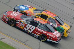 Carl Edwards races with Elliott Sadler for position