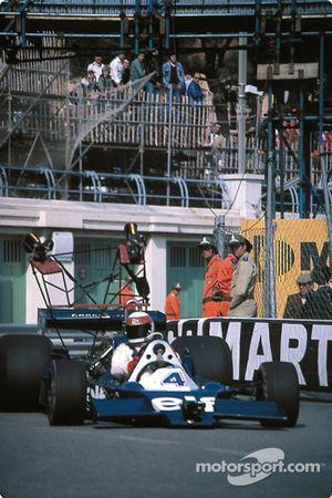 Jackie Stewart driving Tyrrell 008 camera Car