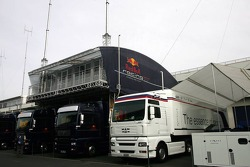 BMW Sauber F1 team and Red Bull Racing transporters