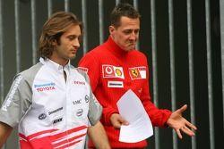 Jarno Trulli and Michael Schumacher