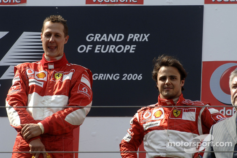 Podium: race winner Michael Schumacher with Felipe Massa