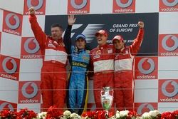 Podium: race winner Michael Schumacher with Fernando Alonso, Felipe Massa and Ross Brawn
