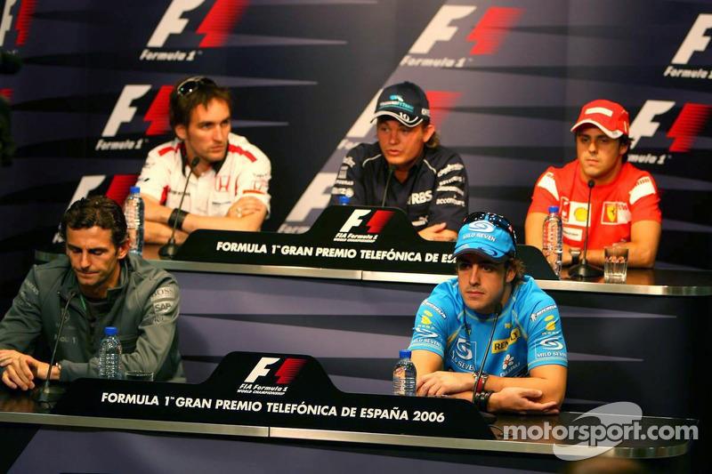 Conférence de presse de la FIA le jeudi: Pedro de la Rosa, Fernando Alonso, Franck Montagny, Nico Rosberg et Felipe Massa
