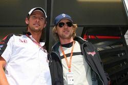 Jenson Button et l'acteur Owen Wilsonpour la promotion du film