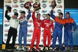 DP podium: class and overall winners Scott Pruett and Luis Diaz, with second place Alex Figge and Ryan Dalziel, and third place Shane Lewis and Craig Stanton