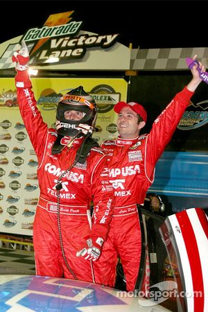 Race winners Scott Pruett and Luis Diaz celebrate