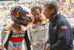 Dani Pedrosa, Alberto Puig and Mike Leitner