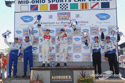 LMP1 podium: Class winners Allan McNish and Rinaldo Capello, second place James Weaver and Butch Lei