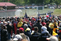 A large crowd on the starting grid