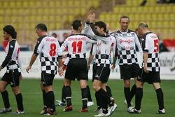 Match de football de charité: Giancarlo Fisichella et Michael Schumacher