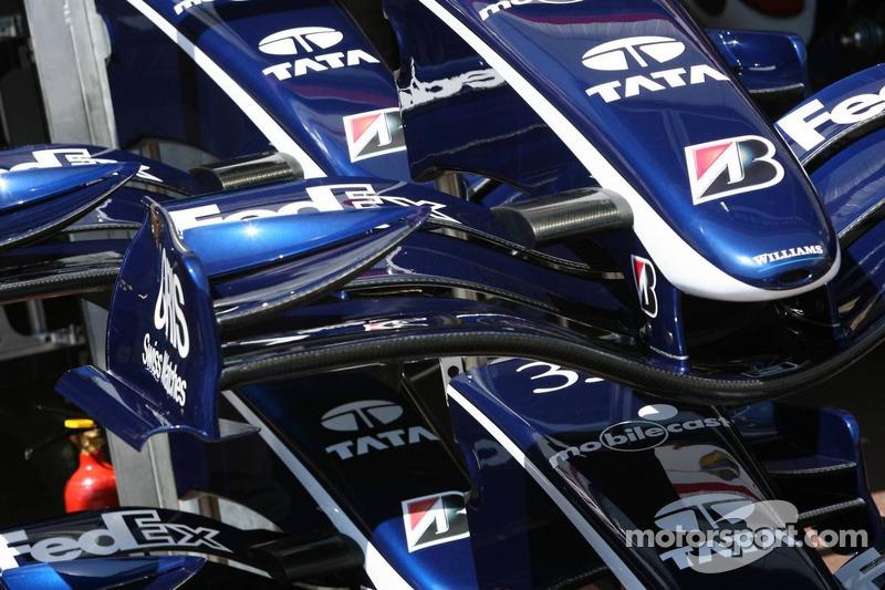 L'équipe Williams F1, détail de l'aileron avant