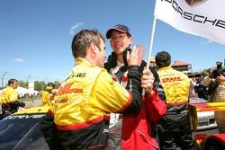 Race winners Romain Dumas celebrates