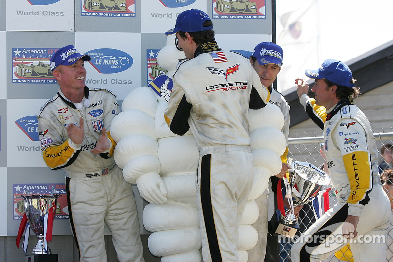 LMGT1 podium: class winners Olivier Beretta and Oliver Gavin celebrate with Ron Fellows and Johnny O'Connell