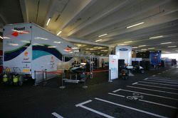 GP2 Series team trucks in the multi storey car park