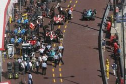 Cars in the pit lane