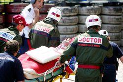 Nicolas Lapierre gets stretchered away
