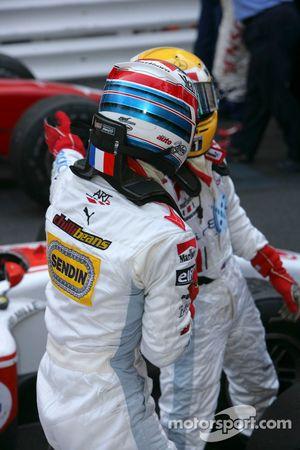 Alexandre Premat 3rd and Lewis Hamilton 1st celebrate
