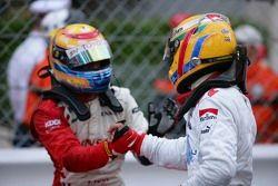 Franck Perera 2nd, congratulates Lewis Hamilton 1st