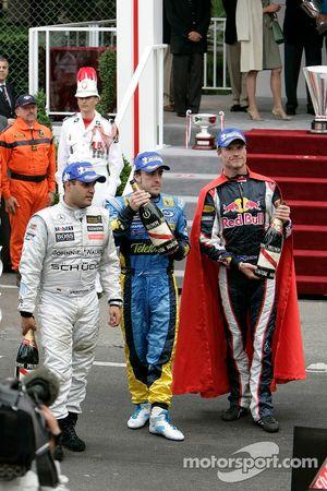 Juan Pablo Montoya, Fernando Alonso et David Coulthard